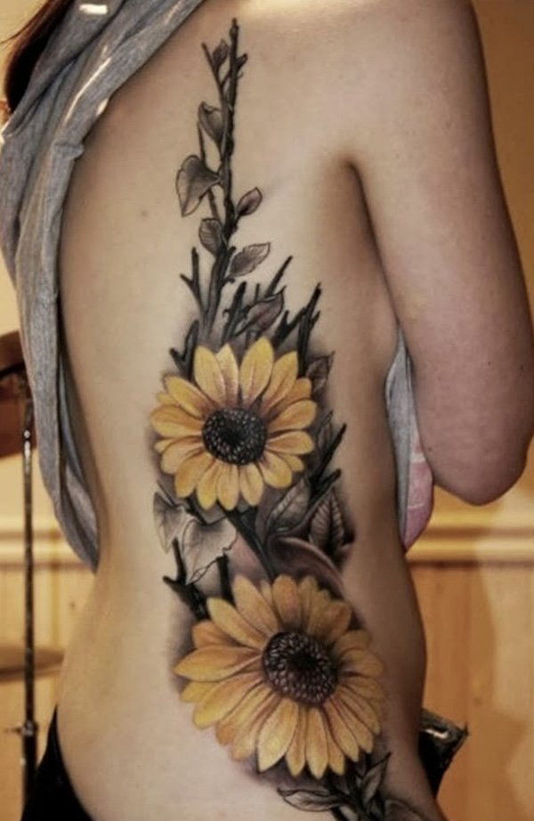 Unique Sunflower Tattoos For Women On Back