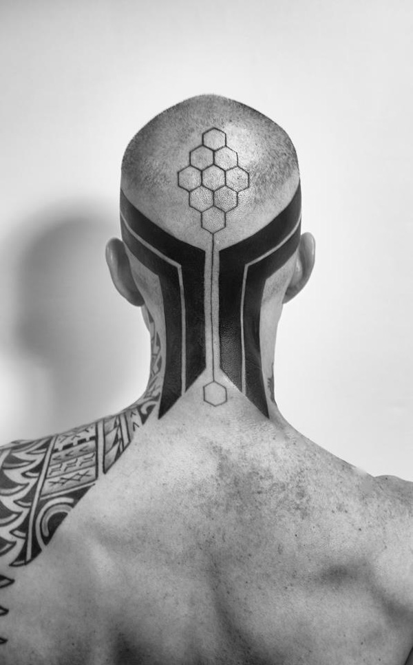 unique tattoo on the head With Black ink For Man And Woman Tattoo on Head For Man And Woman