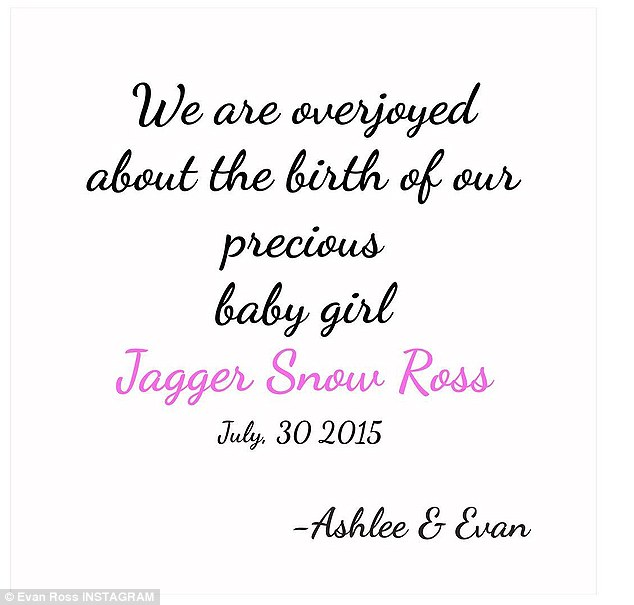 We Are Overjoyed About The Birth Of Our Precious Baby Girl Jagger Snow Ross Ashlee E Evan
