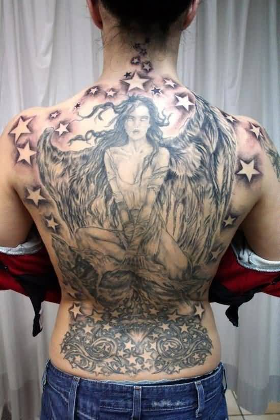weird gray and red light color ink Angel Tattoos on girl 's back side for girls made by expert women
