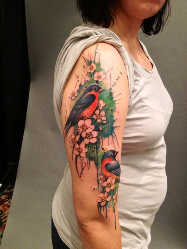 Wonderful Colorful Sleeve Tattoo On Arm With Colorful Ink For Man Woman