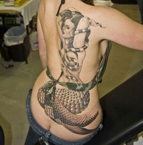 Wonderful Mermaid Tattoo On Back With Black Ink For Woman