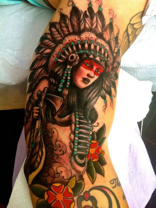 Wonderful Native American Heritage piece By Kyle Walker At Guru Tattoo In San Diego On Hand With Colourful Ink For Man & Woman