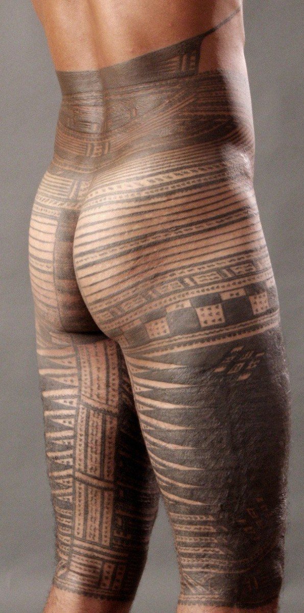 Wonderful Traditional Samoan Tattoo For Men With Black Ink For Man Woman