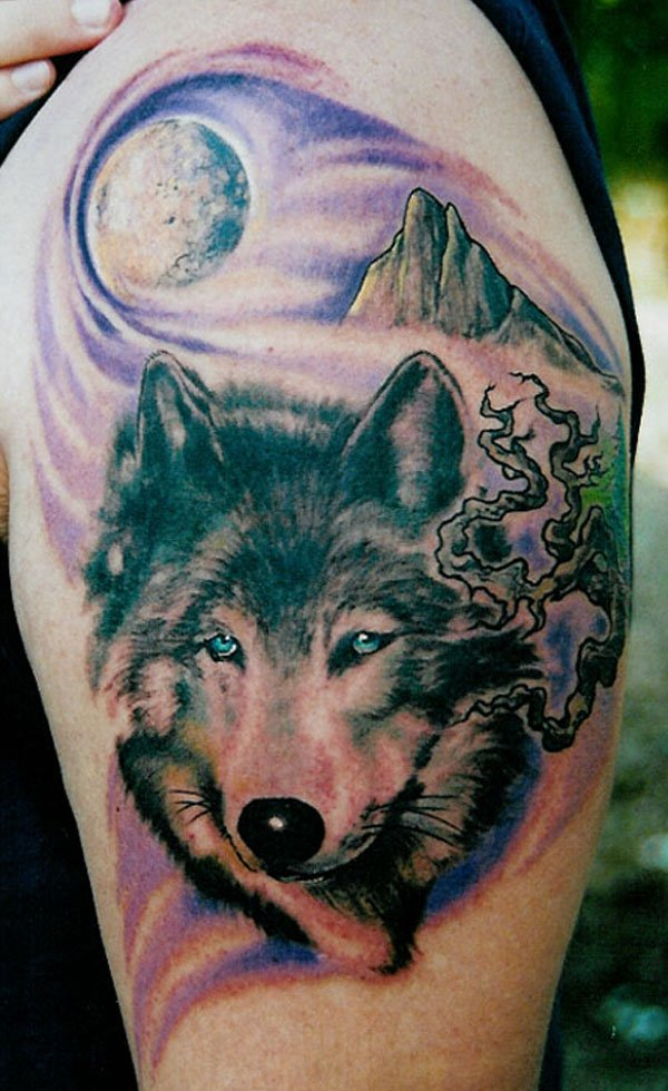 Wonderful Wolf And Moon Tattoo On Arm With Colorful Ink For Man Woman