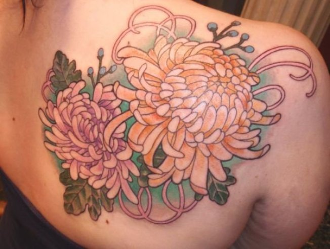 wonderful chrysanthemum tattoo on back With colourful ink For Man And Woma