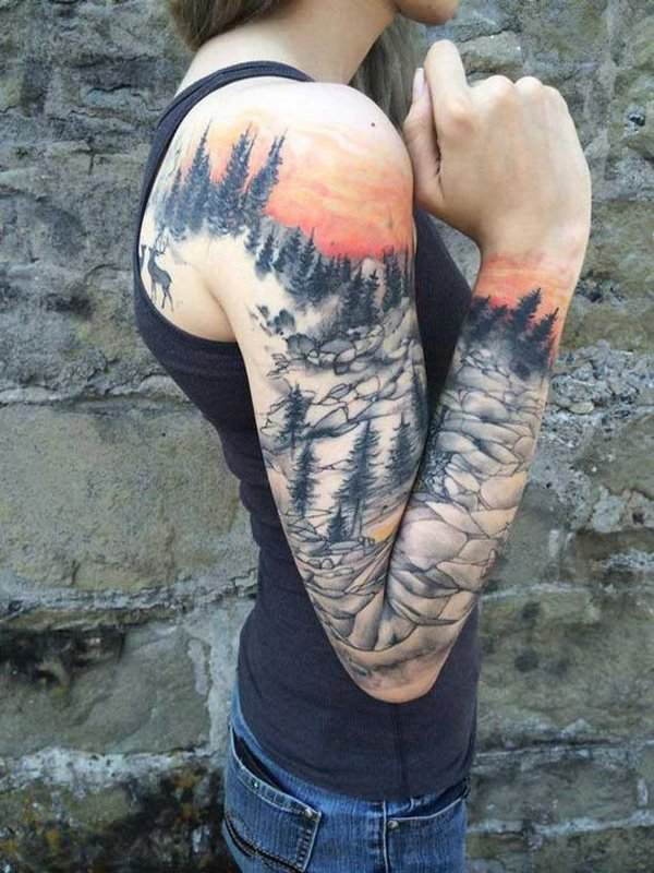 wonderful mountain tattoo full sleeve With Black ink For Man And Woman