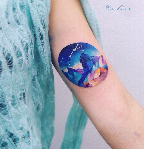 wonderful mountain tattoo on arm With colourful ink For Man And Woman