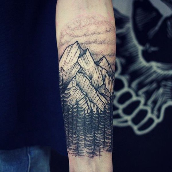 wonderful mountain tattoo on hand With Black ink For Man And Woman