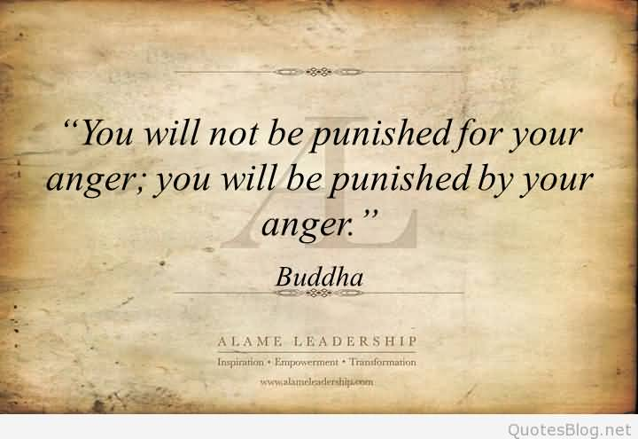 You Will Not Be Punished For Your Anger You Will Be Punished By Your Anger