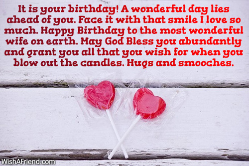 A Wonderful Day Happy Birthday To The Most Wonderful Wife On Earth Greeting Image