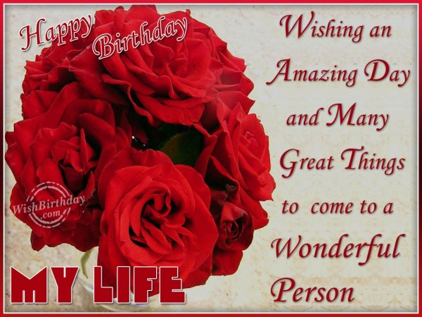 A Wonderful Person Happy Birthday My Life Red Rose Flower Greeting Image
