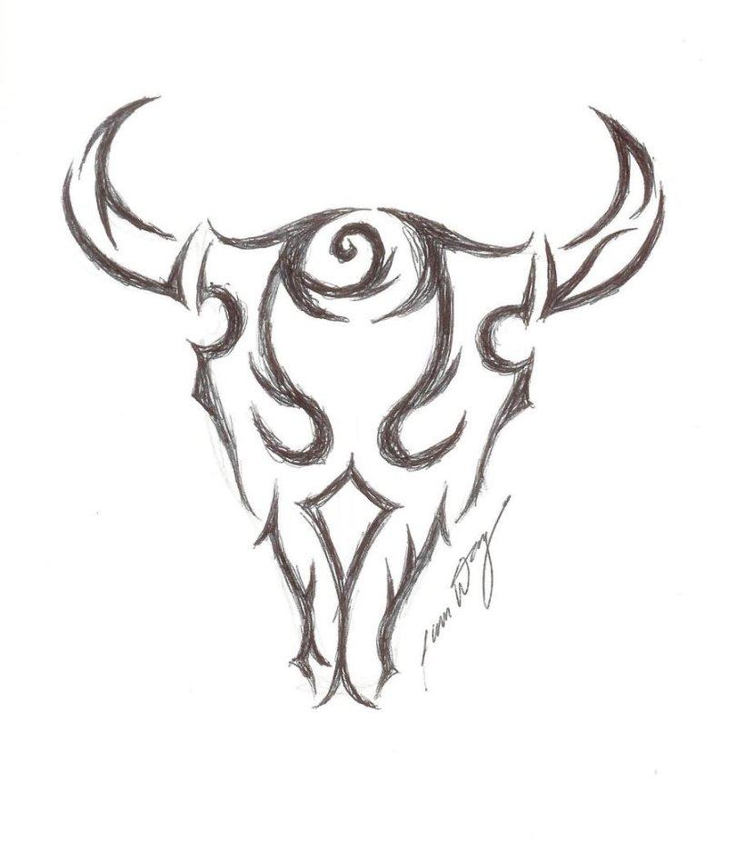 Adorable Black And White Color Bull Skull Tattoo Design For Boys