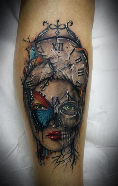 Adorable Blue Black And Red Color Ink Death Face Clock Tattoo Design For Girls