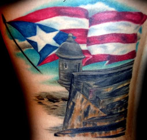 Adorable White Blue Black And Red Color Ink Hispanic Honor The Country Tattoo For Boys