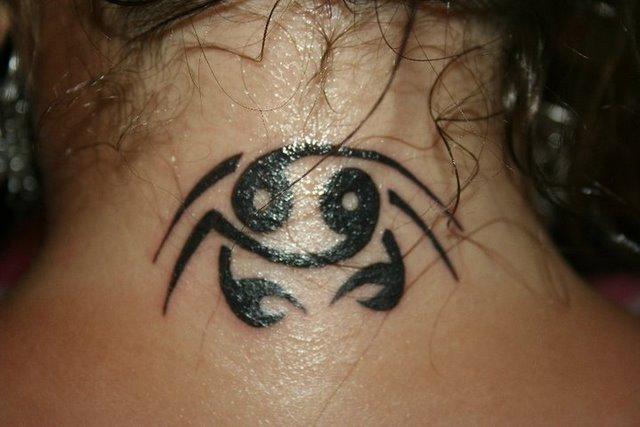 Amazing Black Color Ink Cancer Tattoo On Neck Back For Girls