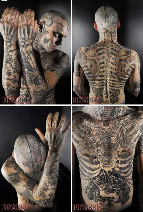 Amazing Full Body Zombie Tattoos With Black Ink