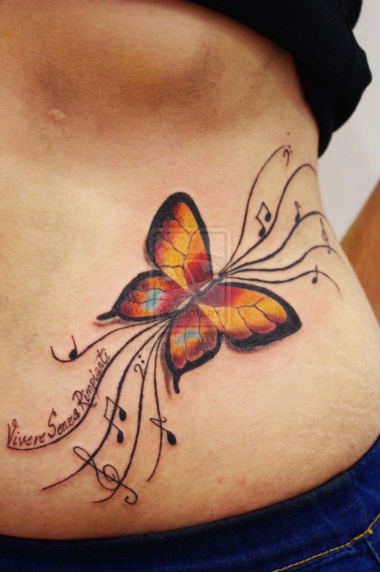 Amazing Yellow Blue Black And Red Color Ink Butterfly Tattoo Design On Rib For Girls