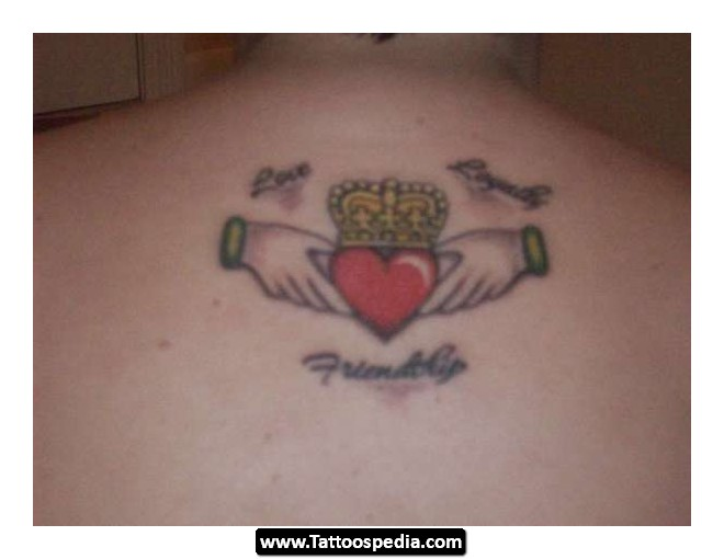 Amazing Yellow Red And Black Color Ink Claddagh Tattoo Picture For Boys