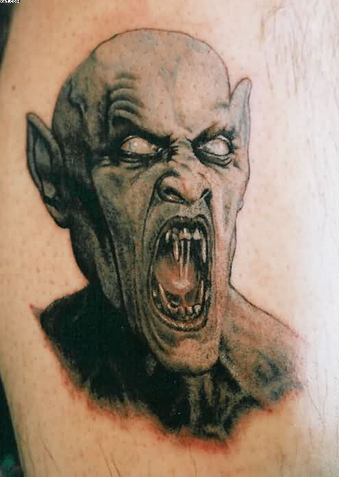 Angry Gothic Style Zombie Tattoo