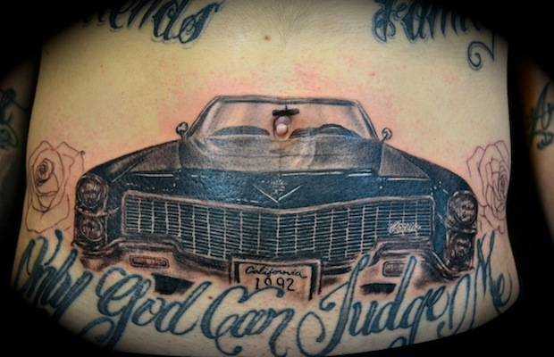 Attractive Black And Red Color Ink Only God Can Judge Me Car Tattoo Design For Boys On Front Chest