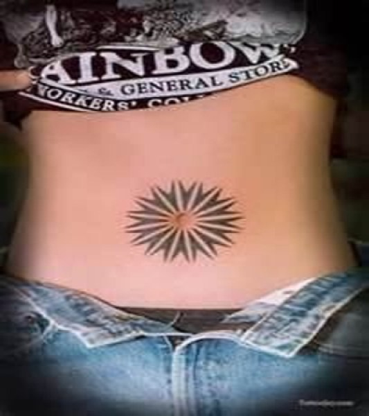Attractive Black Color Ink 3D Sun Belly Button Tattoo Design On Belly For Girls