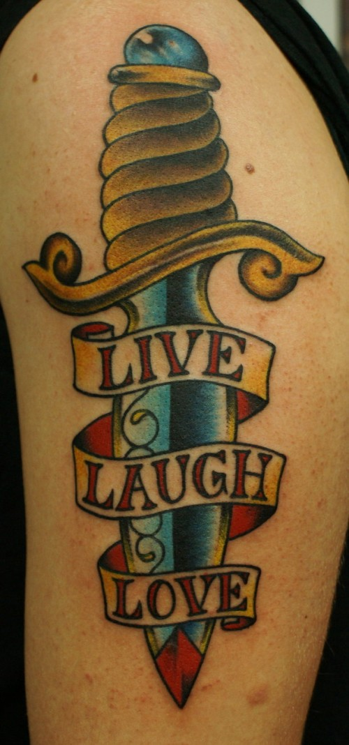 Attractive Blue Red And Black Color Ink Live Laugh Love Dagger Tattoo Design For Girls