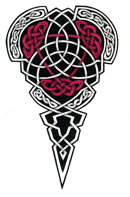Attractive Red And Black Color Ink Celtic Tattoo Design For Girls