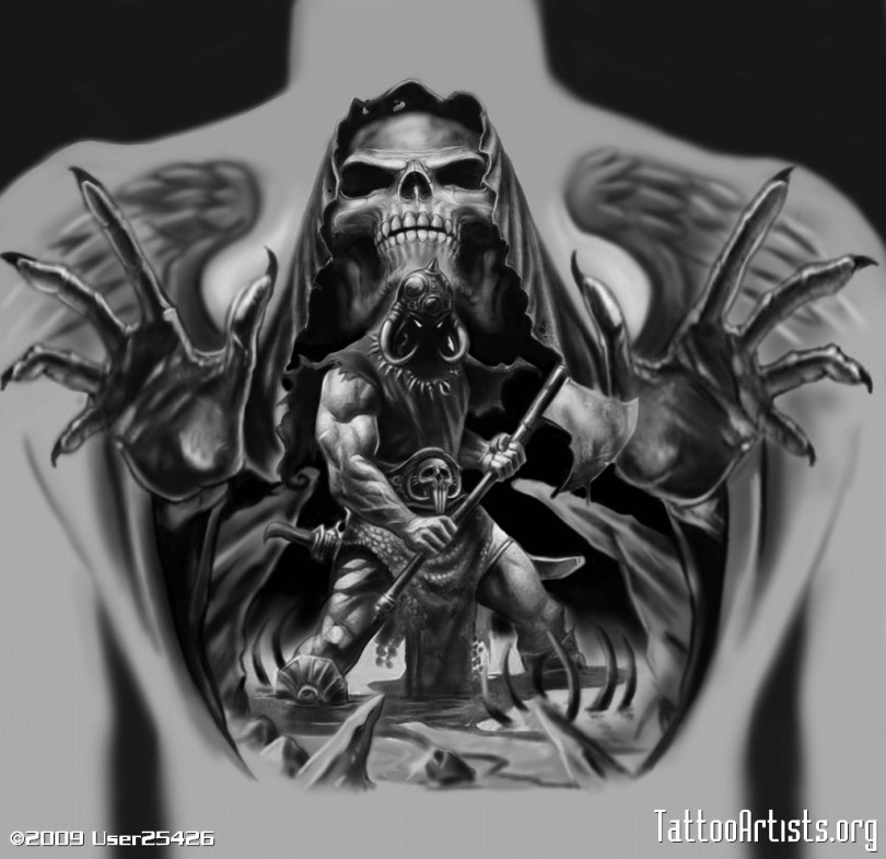 Awesome Black Color Ink Angel Of Death Tattoo Design For Boys