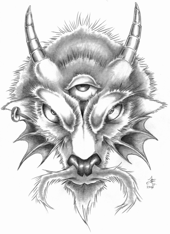 Awesome Black Color Ink Capricorn Goat Head Tattoo Design For Boys