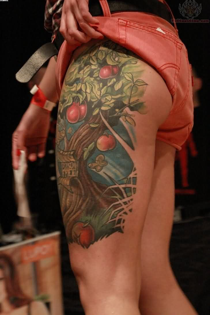 Awesome Red And Green Color Ink Apple Branch Tattoo On Thigh For Girls