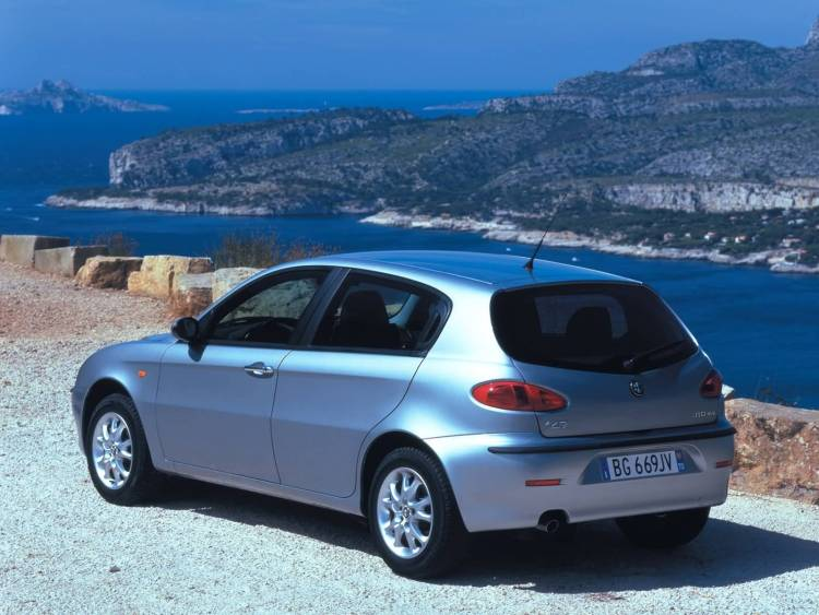 Awesome silver Alfa Romeo 147 Car on the beach