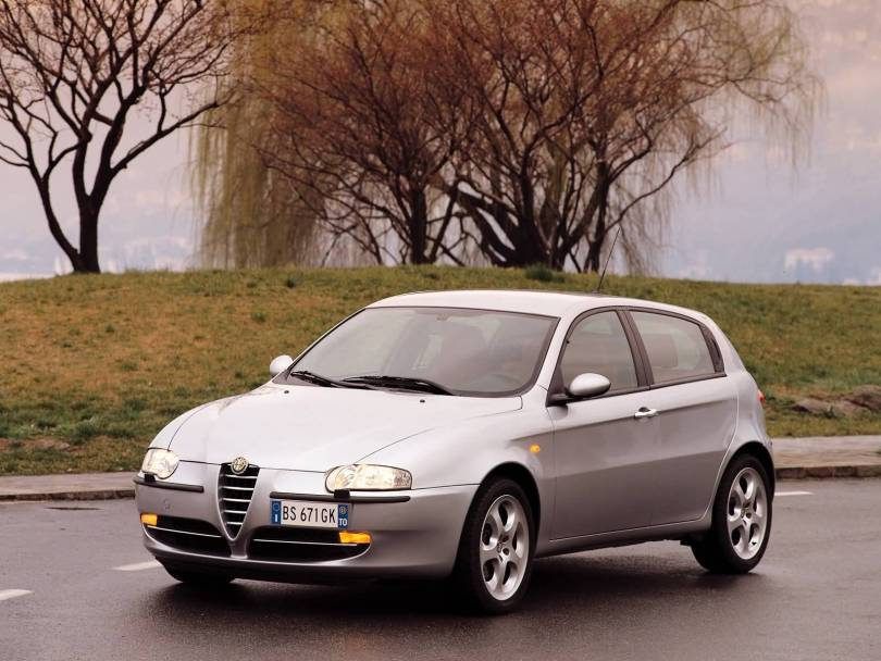 Awesome silver Alfa Romeo 147 Car on the road