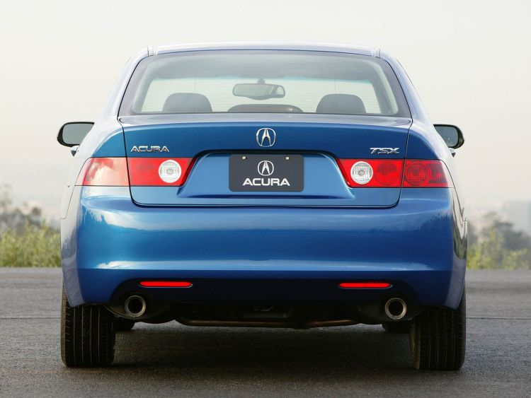 Back side of blue Acura TSX car