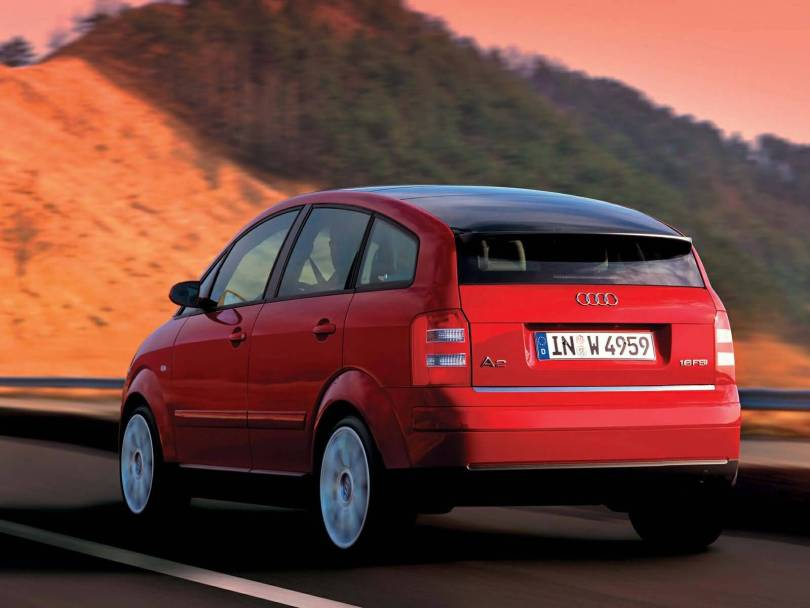 Back side of nice Red Audi A2 car