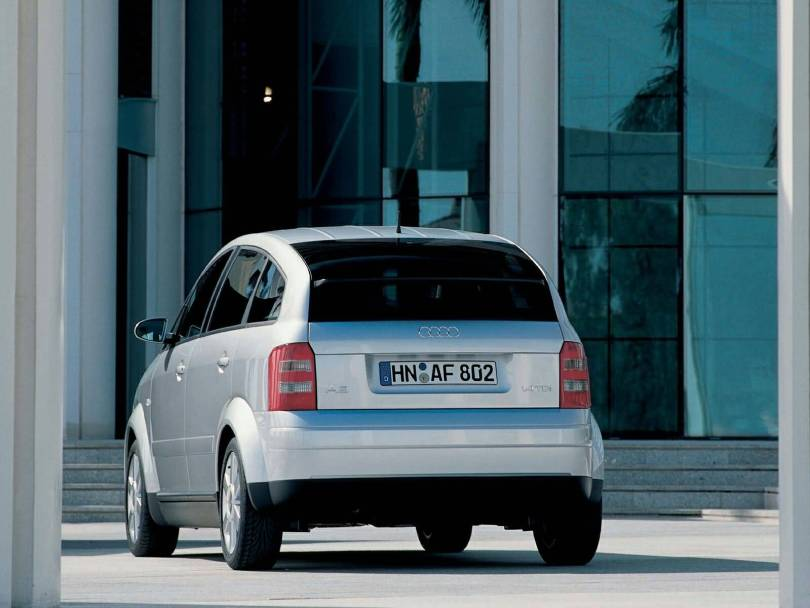 Back side of silver Audi A2 Car