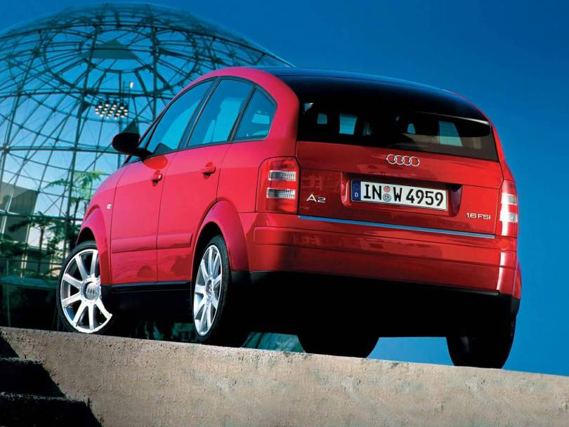 Back side view nice Red Audi A2 car