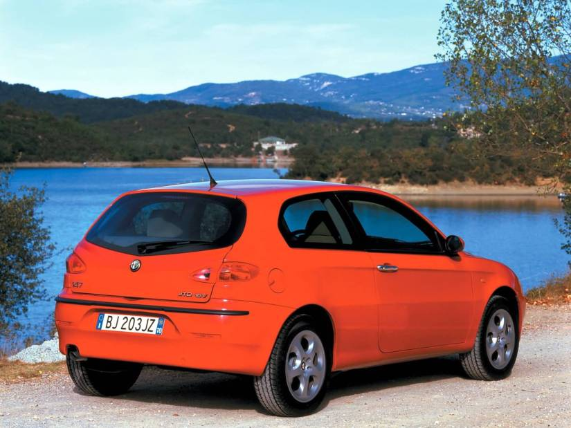 Back side view of red color best Alfa Romeo 147 Car