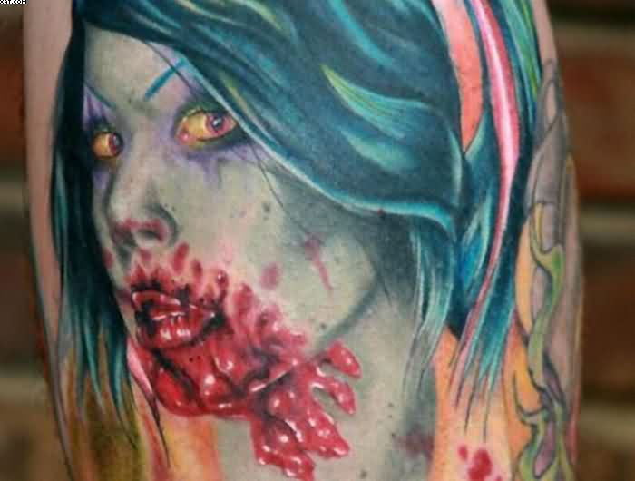 Beautiful Bleeding Zombie Girl Tattoo