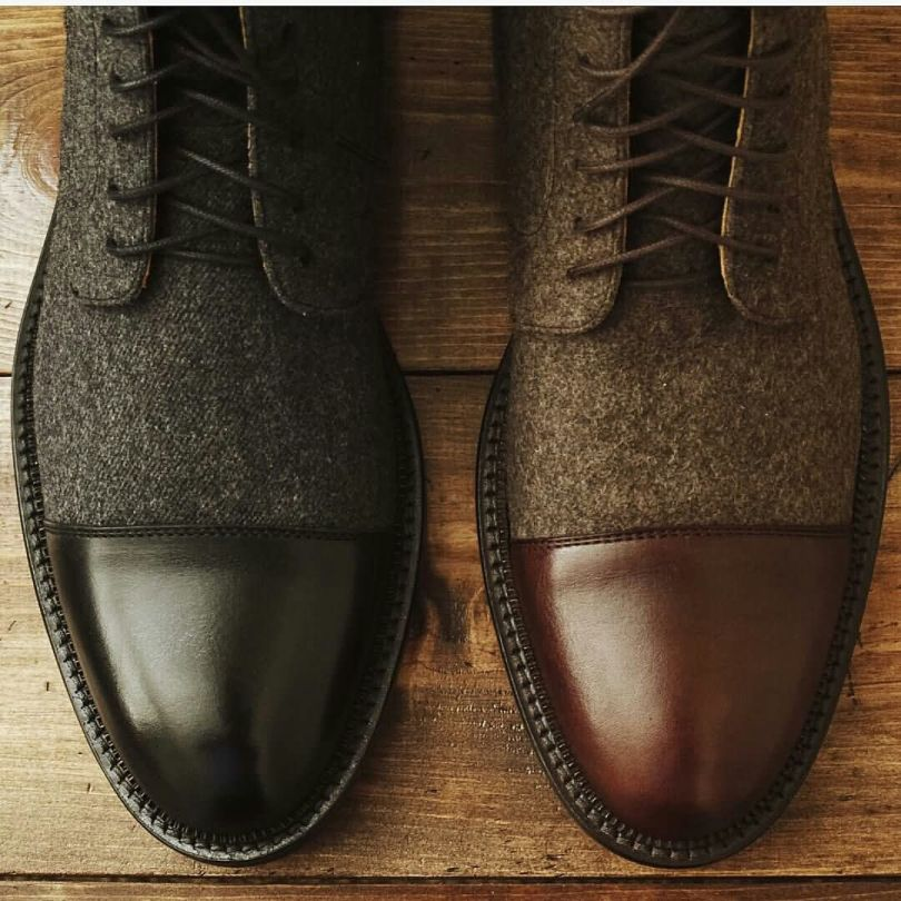 Beautiful Color Shade Of Black And Brown Leather Shoes