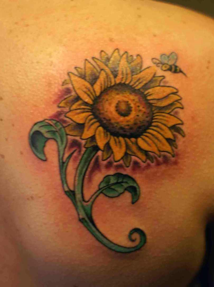Beautiful Green And Yellow Color Ink Bee & Sunflower Tattoo Design For Girls On Back