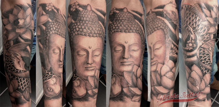 Beautiful Grey Color Ink Buddhist Tattoo Design On Arm For Boys