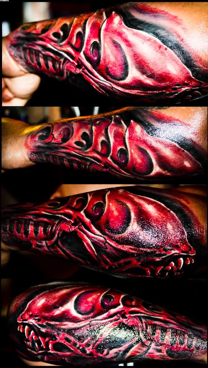 Beautiful Red And Black Color Ink Alien Tattoo Design On Arms For Boys