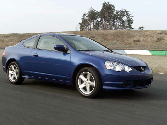 Beautiful blue color of Acura RSX Car on the road