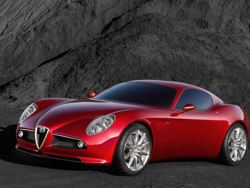 Beautiful red Alfa Romeo 8C Competition Car Left side