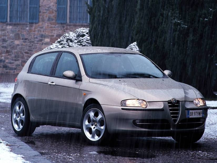 Beautiful silver Alfa Romeo 147 Car in rain