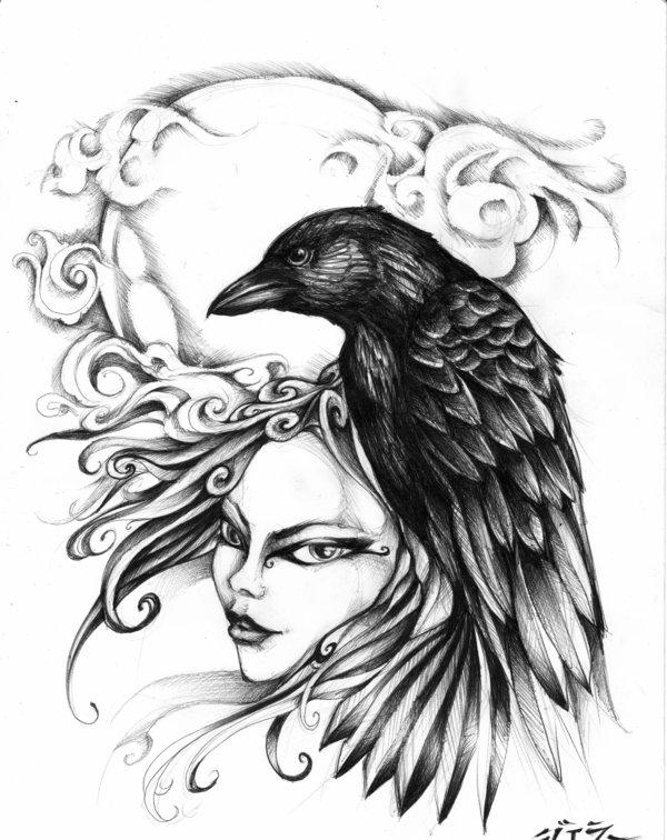 Best Ever Black And White Color Ink Moon Crow And Woman Head Tattoo Design For Girls
