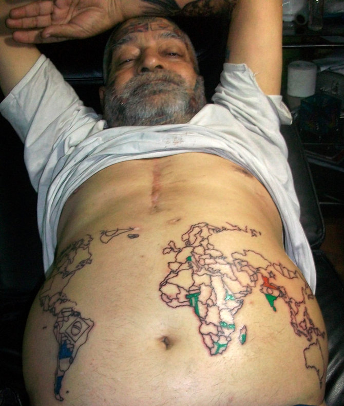 Best Ever Green Black And Red Color Ink Country Flags Tattoo On Belly For Boys