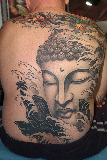 Best Ever Red Blue And Grey Color Ink Big Buddha Head Tattoo On Back For Boys