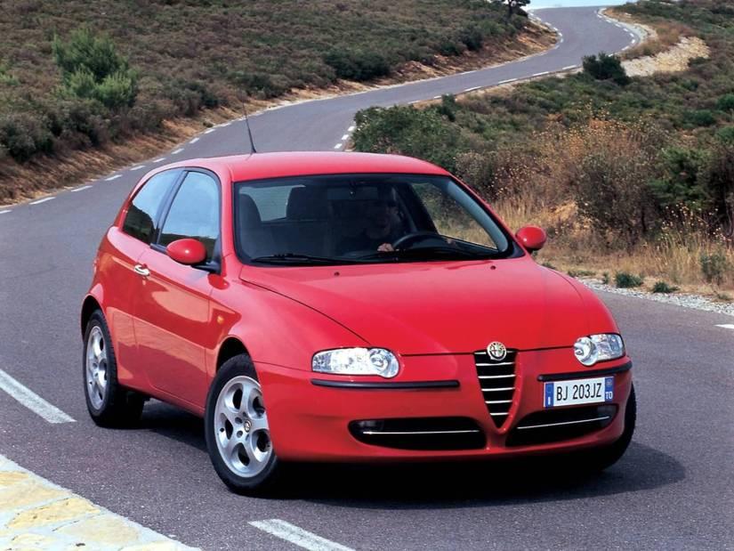 Beautiful red Alfa Romeo 147 Caron the road